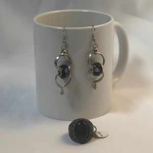 Earring and ring set - in black and silver
